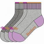 Skechers Basic NOS Quarter Girls Mädchen Socken fog, 4er Pack Skechers Mädchen Socken grau, 6539119