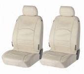 2 Stück Universal Echt Leder Auto Sitzbezüge beige für fast alle PKW, für Fahrersitz und Beifahrersitz