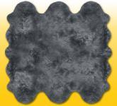 Fellteppiche grau gefärbt aus 6 Lammfellen, Größe ca. 185 x 180 cm, 30 Grad waschbar