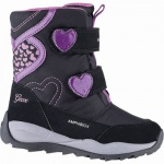 Geox Mädchen Synthetik Winter Amphibiox Boots black, 13 cm Schaft, molliges Warmfutter, warmes Fußbett, 3741112