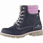 TOM TAILOR coole Mädchen Winter Synthetik Tex Boots navy, 12 cm Schaft, molliges Warmfutter, 3739206
