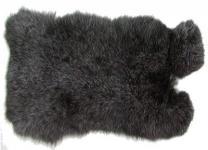 Kaninchenfelle schwarzsilber naturfarben, ca. 30x30 cm, Felle vom Kaninchen mit seidigem Haar