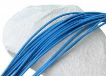 10 Stück Rindleder Rundriemen hellblau, geschnitten, für Lederschmuck, Lederketten, Länge 100 cm, Ø 2 mm