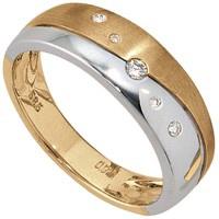 Damen Ring 585 Gold Gelbgold Weißgold bicolor matt 5 Diamanten Brillanten - Vorschau 2
