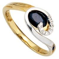 Damen Ring 585 Gold Gelbgold Weißgold 1 Safir blau 8 Diamanten Brillanten - Vorschau 2