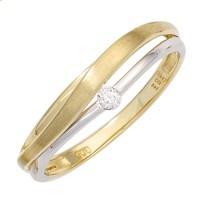 Damen Ring 585 Gold Gelbgold Weißgold bicolor matt 1 Diamant Brillant Goldring - Vorschau 2
