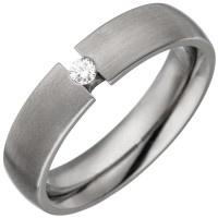 Partner Ring aus Titan 1 Diamant Brillant 0, 05ct. Partnerring Titanring matt - Vorschau 2