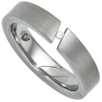 Damen Ring Edelstahl mattiert 1 Diamant Brillant 0, 03ct. - Vorschau 2