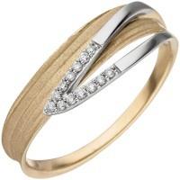 Damen Ring 585 Gelbgold Weißgold bicolor matt 13 Diamanten Brillanten - Vorschau 2