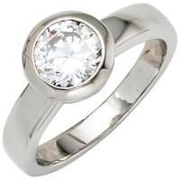Damen Ring 925 Sterling Silber rhodiniert 1 Zirkonia Silberring - Vorschau 2
