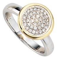 Damen Ring 585 Gold Weißgold Gelbgold bicolor 40 Diamanten Brillanten Goldring - Vorschau 3