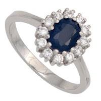 Damen Ring 925 Sterling Silber rhodiniert 1 Safir blau 12 Zirkonia Silberring - Vorschau 2