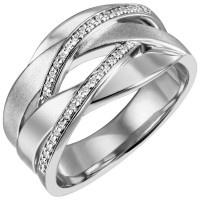 Damen Ring breit 925 Sterling Silber 34 Zirkonia Silberring - Vorschau 2