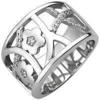 Damen Ring breit 925 Sterling Silber 25 Zirkonia Silberring - Vorschau 2