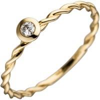 Damen Ring gedreht 585 Gold Gelbgold 1 Diamant Brillant 0, 05ct. Goldring - Vorschau 2