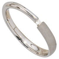 Damen Ring 925 Sterling Silber rhodiniert teil matt 1 Diamant 0, 02ct. Silber - Vorschau 2