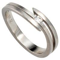 Damen Ring 950 Platin matt 1 Diamant Brillant 0, 09ct. Platinring - Vorschau 2