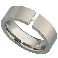 Damen Ring Titan matt 1 Diamant Brillant 0, 03ct. - Vorschau 2