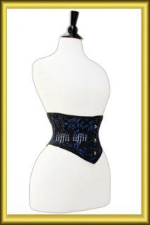 Taillen korsett corsage aus Brokat Schwarz Lila - Vorschau 3