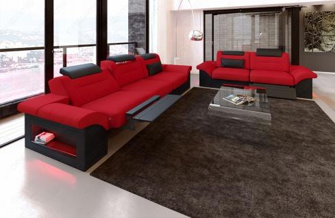 Stoff Sofagarnitur Monza mit 3 Sitzer und 2 Sitzer Sofa - Vorschau 2