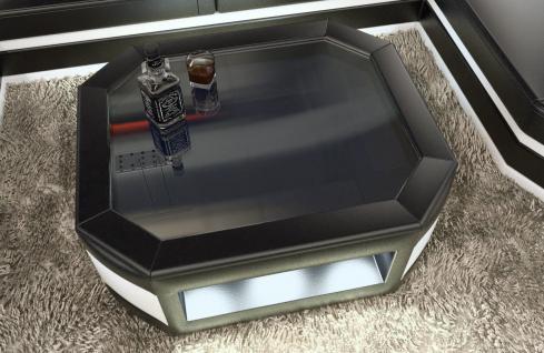 Wohnzimmertisch Prato als moderner Leder Couchtisch mit Glasplatte - Vorschau 3