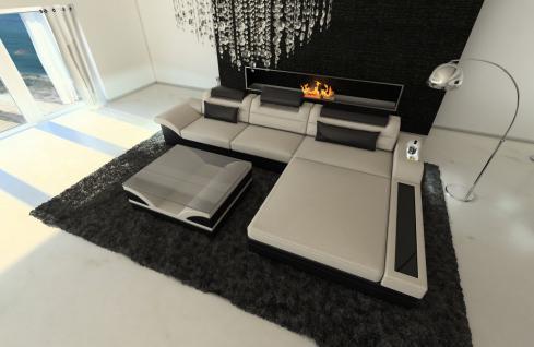 Couch Parma in Stoff als L Form mit Bettfunktion und Licht