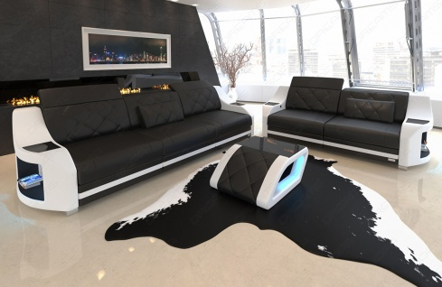 Sitzgruppe in Leder Sofa Set Swing mit optionaler LED Beleuchtung