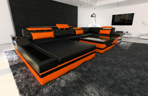 Leder Wohnlandschaft Mezzo U Form schwarz-orange