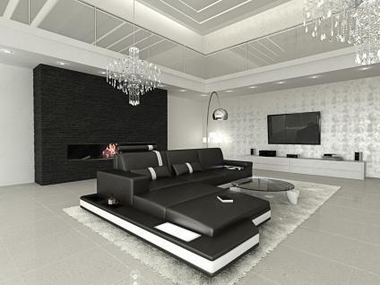 Design Ledersofa Messana als L Form in den Farben Schwarz-Weiss