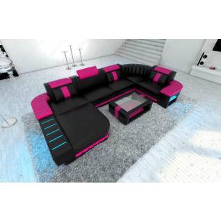 Ledersofa Wohnlandschaft BELLAGIO U-Form schwarz-pink - Vorschau 1