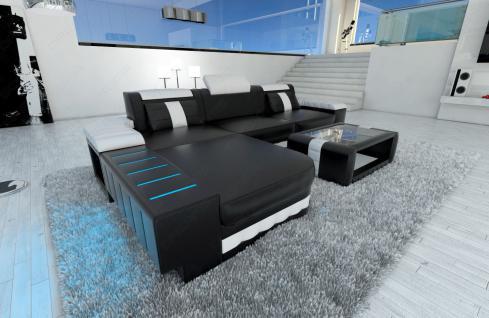 Ledercouch BELLAGIO L-Form mit LED Beleuchtung schwarz-weiss - Vorschau 2