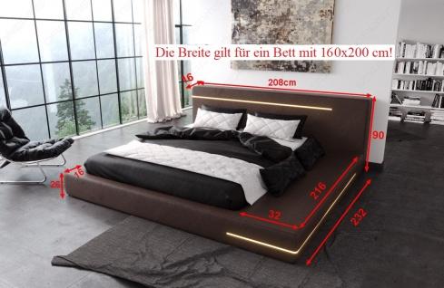 Modernes Designerbett Rimini mit LED Beleuchtung - Vorschau 4
