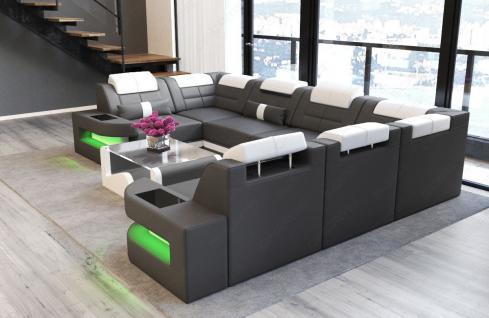 Couch U Form Como in Leder mit LED Beleuchtung - Vorschau 3