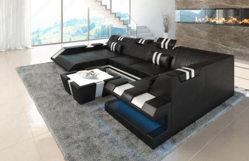 Sofa Wohnlandschaft Apollonia in U Form mit verstellbaren Kopfstützen - Vorschau 4