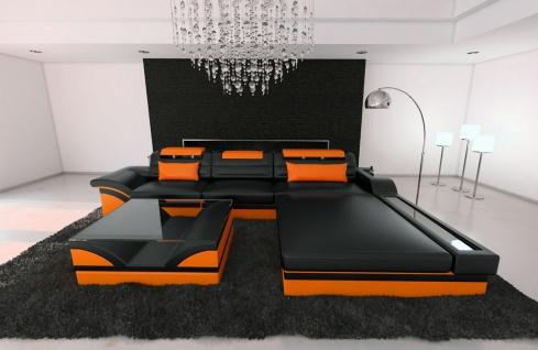 Ledersofa Parma L Form schwarz-orange