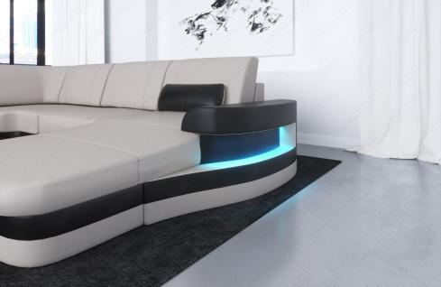 Sofa Wohnlandschaft Modena in Leder auch mit LED Beleuchtung - Vorschau 2