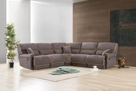 Design Sofa Kiel L Form in Stoff mit Recliner