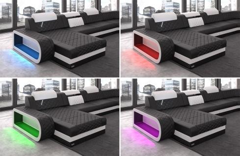 Chesterfield Stoff Couch Berlin L Form mit LED Beleuchtung erhältlich in verschiedenen Farben und hochwertigen Stoffbezügen. - Vorschau 4