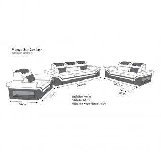 Stoff Sofagarnitur Monza mit 3 Sitzer und 2 Sitzer Sofa - Vorschau 4