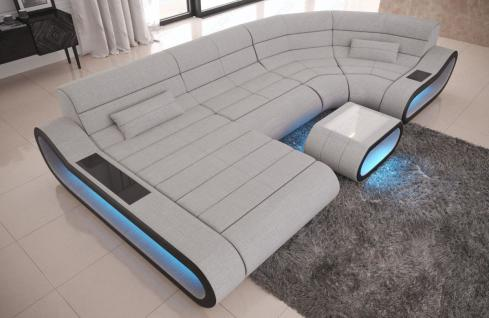 Wohnlandschaft Stoff Couch Concept mit LED Beleuchtung