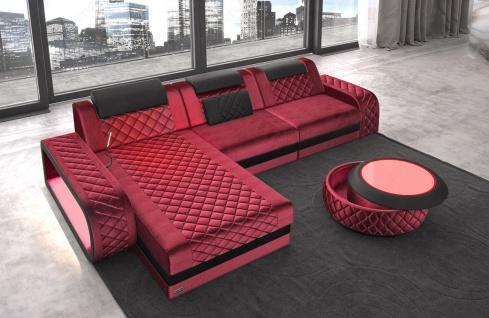 Chesterfield Stoff Couch Berlin L Form mit LED Beleuchtung erhältlich in verschiedenen Farben und hochwertigen Stoffbezügen. - Vorschau 3