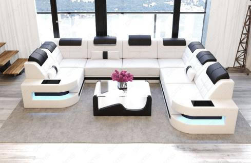 Couch U Form Como in Leder mit LED Beleuchtung - Vorschau 2