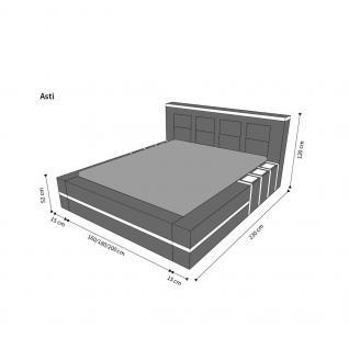 Komplettes Bett Asti mit LED Beleuchtung - Matratze und Lattenrost - Vorschau 3