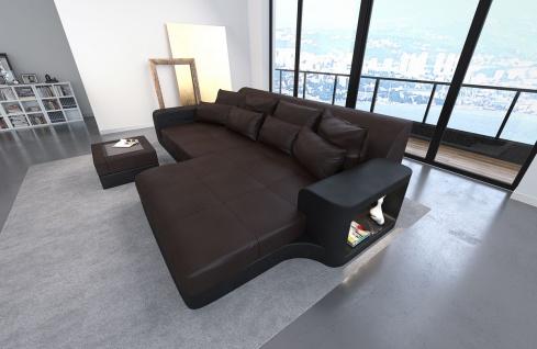 Leder Bigsofa Milano dunkelbraun-schwarz