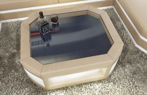 Wohnzimmertisch Prato als moderner Leder Couchtisch mit Glasplatte - Vorschau 2