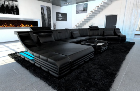 xxl wohnlandschaft turino cl form schwarz schwarz kaufen bei pmr handelsgesellschaft mbh. Black Bedroom Furniture Sets. Home Design Ideas