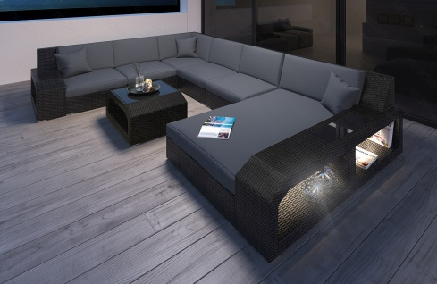 Modernes Rattan Sofa Matera als Designer U Form Wohnlandschaft XXL