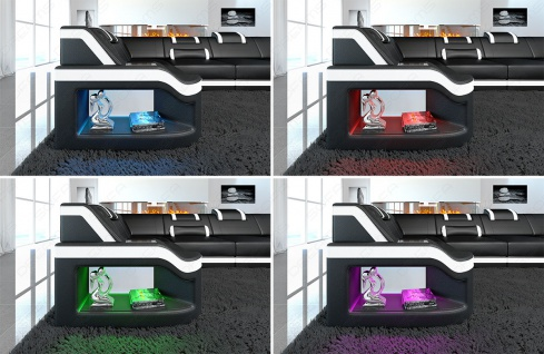 Stoff Wohnlandschaft Padua U modern mit LED Beleuchtung - Vorschau 4