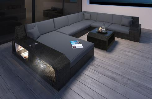 Garten Sofa Matera U Form Polyrattan mit LED Beleuchtung