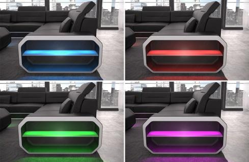 Design Leder Wohnlandschaft Verona U mit LED Beleuchtung - Vorschau 3